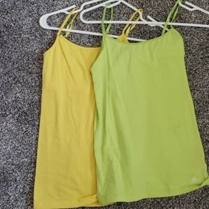 Aeropostale yellow and green spaghetti strap tanks